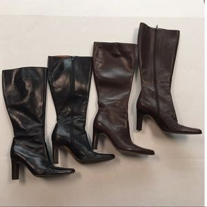 2 pair j crew tall heeled boots black brown 7